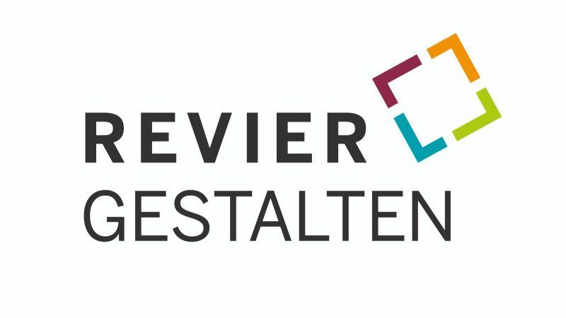Logo des Projektaufrufs REVIER.GESTALTEN, das den Strukturwandel unter enger Einbindung der Menschen vor Ort angeht.