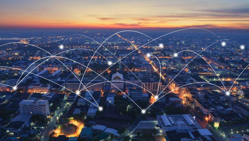 Symbolhafte Darstellung eines intelligent vernetzten Quartiers